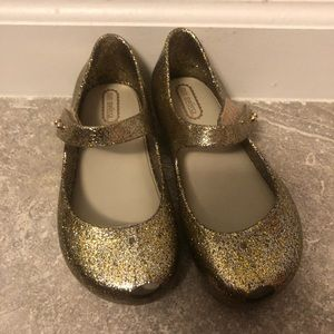 Speckled gold mini Melissa flats